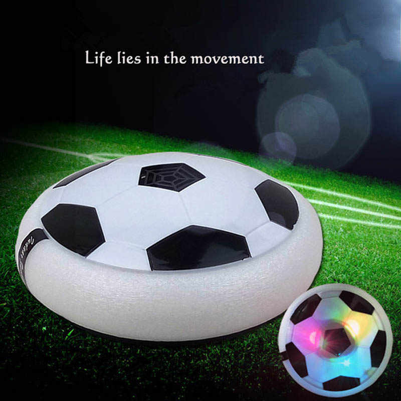 18CM LED Light Flashing Ball Air Power Soccer Ball Colorful Disc Indoor Football Toy Multi-Surface Hovering and Gliding Outdoor