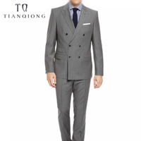 Тянь QIONG 70% шерсть заказ двойной Breased костюм Для мужчин индивидуальный заказ Гэри Свадебный костюм Для мужчин модный костюм Homme Plus Размеры terno