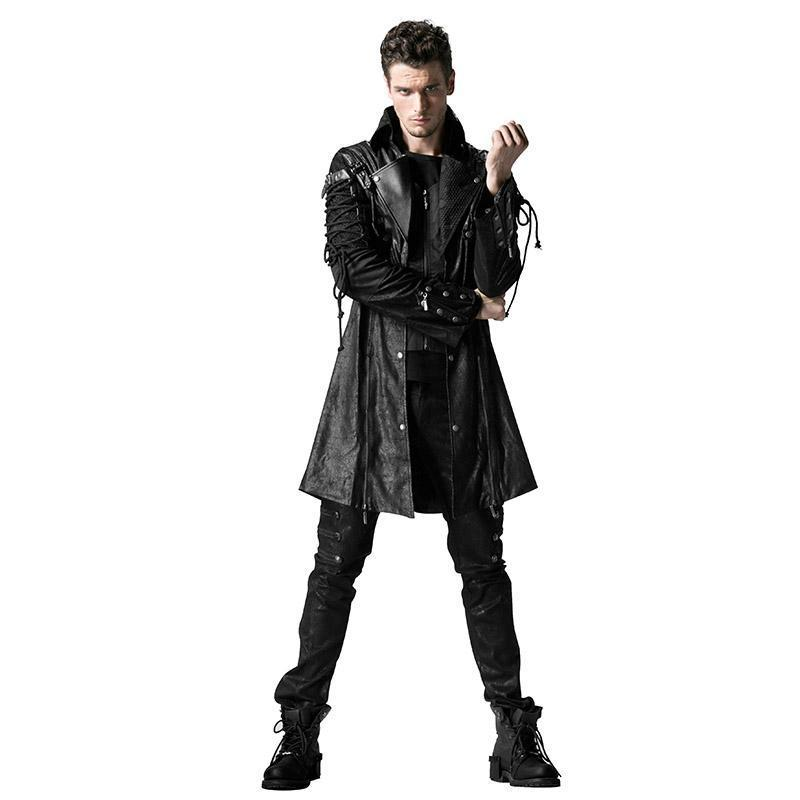 Punk Rave Men's Goth Studded Faux Leather Zipper Jacket Black Y-349