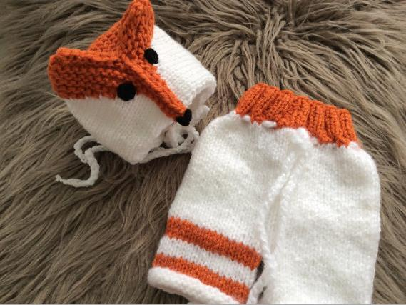 Newborn baby photography props infant knit crochet costume White/orange Fox styling soft outfits beanie+pants baby shower gift