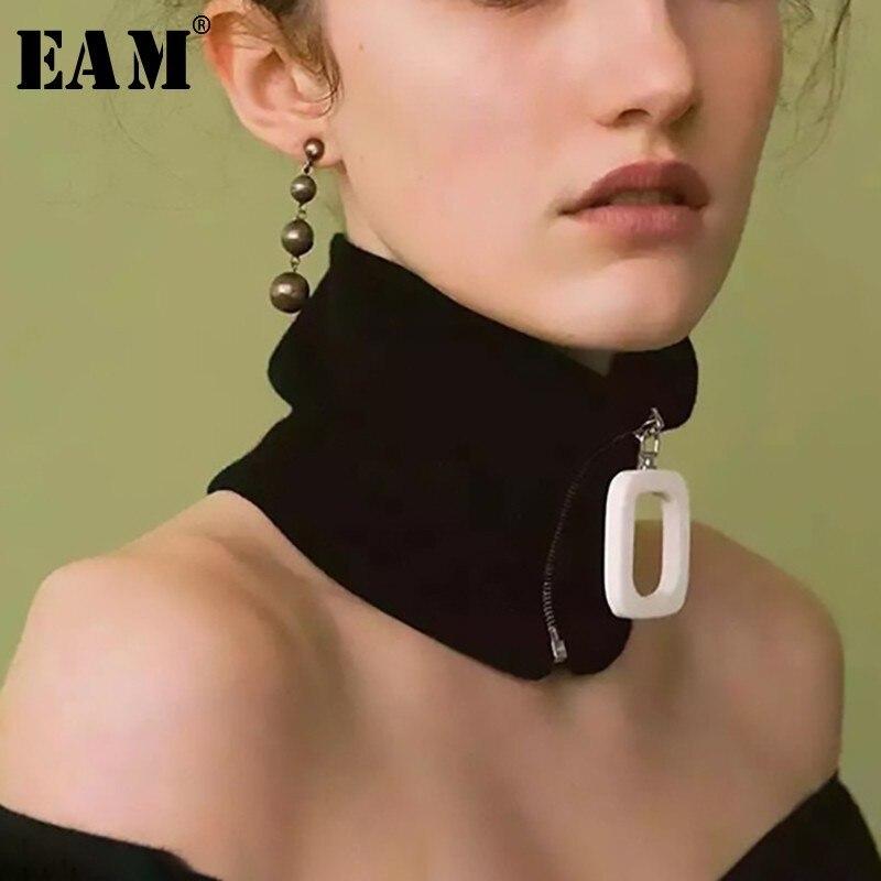 [EAM] 2019 New Spring Summer Personality Striped Printed Big Button Buckle Elastic Zipper Keep Warm Scarf  Women Fashion JK967