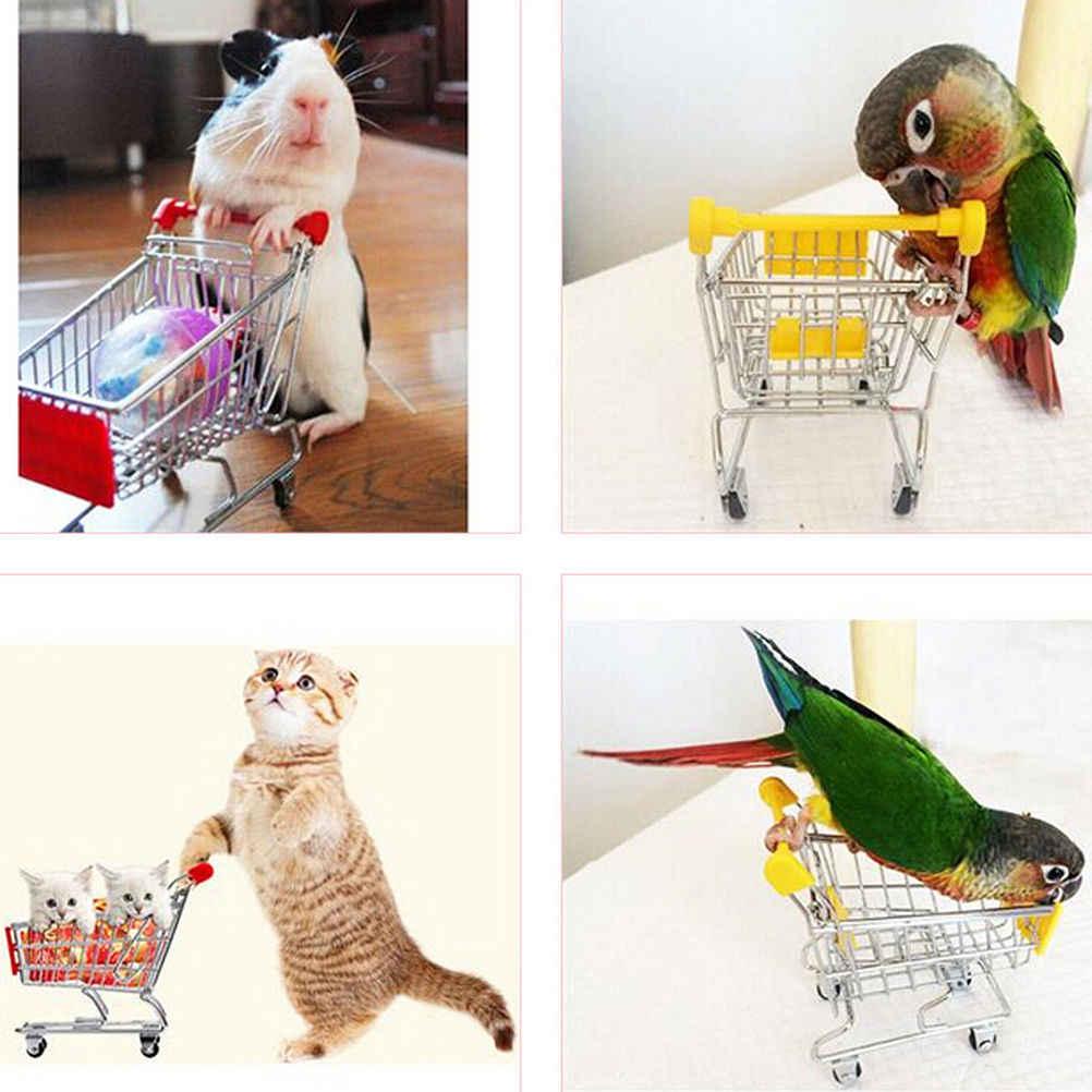 1 adet yeni renkli komik Mini süpermarket alışveriş sepeti arabası Pet kuş papağan Hamster oyuncak depolama telefon tutucu bebek oyuncak
