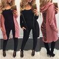 2017 Mulheres de Outono Casacos Finos Casacos Longos Casacos Poncho Sexy Rasgado Escavar Casacos Hoodies Streetwear Legal Jaqueta Manteau Femme