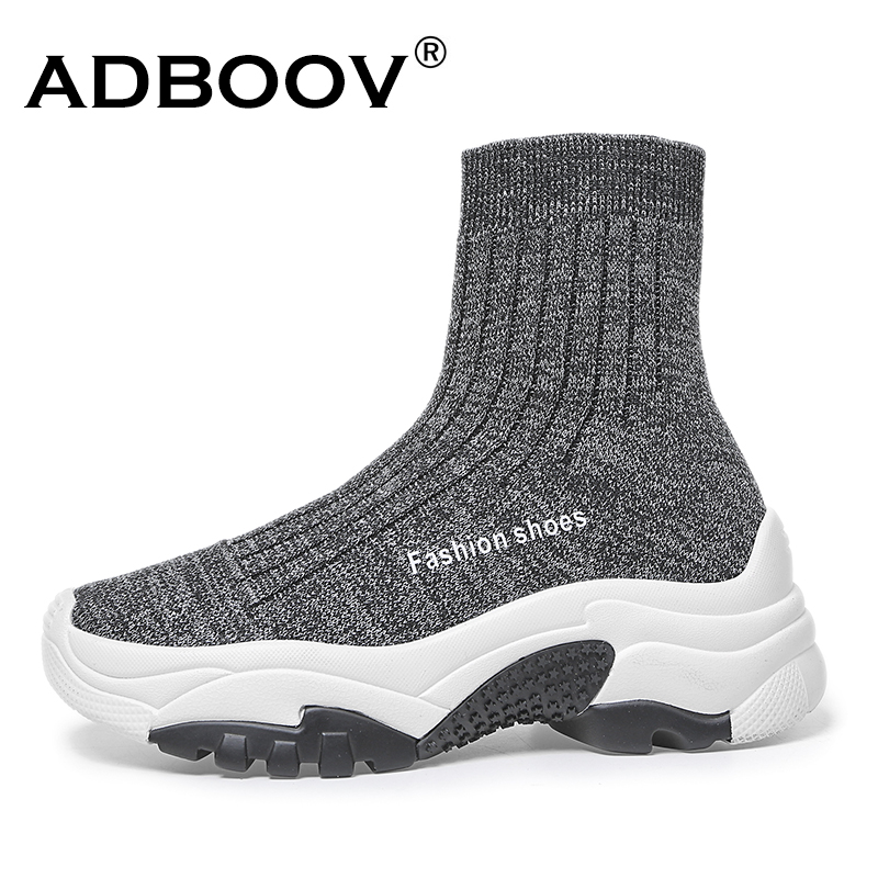 ADBOOV High Top Platform Sneakers Women Fall Winter Stretch Knit  Sock Ankle Boots Slip On Thick Sole Chunky Shoes Сникеры