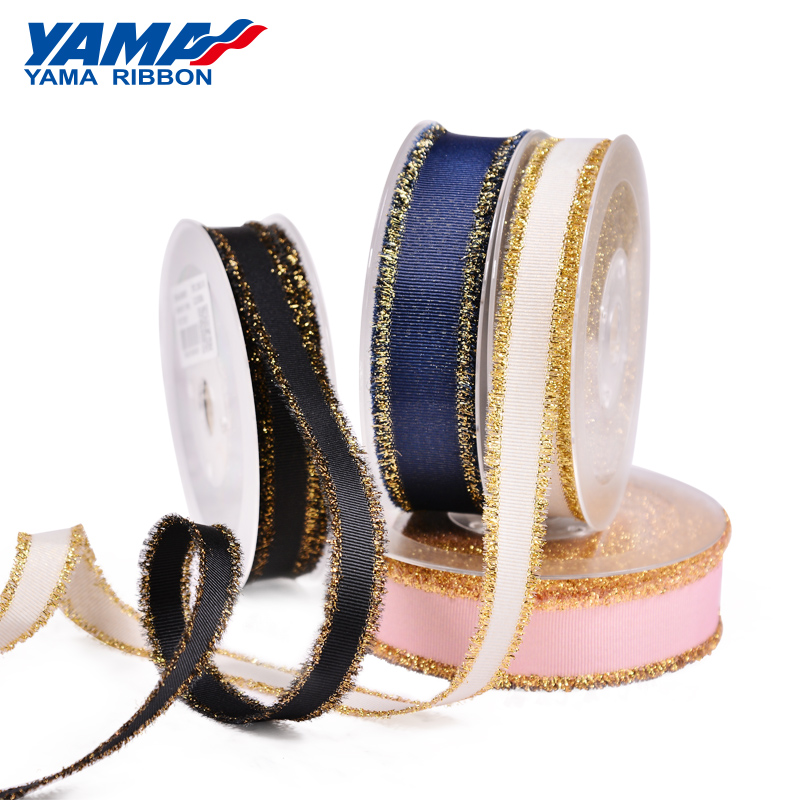 YAMA Fashion Gold Purl Grosgrain Fringe Golden Ribbon 5/8 1 1-1/2 inch 16mm 25mm 38mm 6 Colors 100Yards/Roll Diy Packing Gifts
