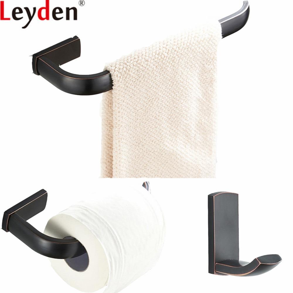 Leyden Black Wall Mounted 3pcs Bathroom Accessories Set ORB Brass Towel Ring Holder Toilet Paper Holder