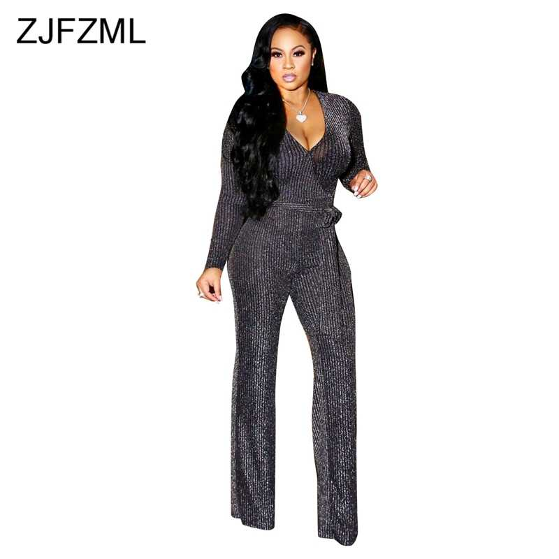 f9ff9c640742 Long Sleeve Sexy Jumpsuits For Women 2018 Glitter V Neck Ribbed One Piece  Romper Fall Winter