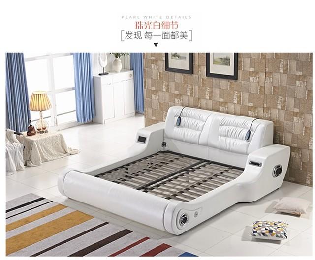 Real Genuine leather bed TV Soft Beds Bedroom camas lit muebles de dormitorio yatak mobilya quarto massage speaker bluetooth 4