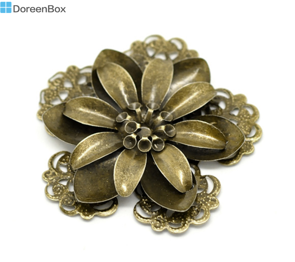 Doreen Box Lovely Antique Bronze Filigree Flower Embellishment Findings 5.3x5.1cm, sold per lot of 10 (B17636) 8seasons 10 antique bronze filigree flower embellishments findings 5 5x4 8cm can hold ss10 rhinestone b18567