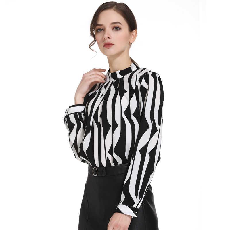 ccf3c3284a4 ... Модная женская блузка со стоячим воротником офисная блузка женская  шифоновая блузка рубашка черного цвета белый в ...