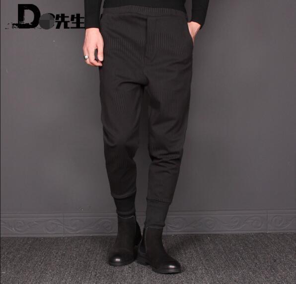 Winter men's small foot harlan pants stretch waist pants elastic waist pants. M-3XL!!