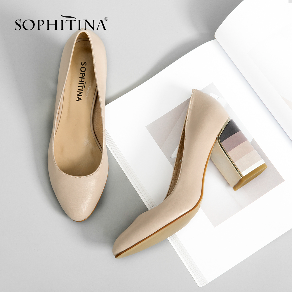 SOPHITINA 2019 Genuine Leather Pumps Women s Autumn Slip On Round Toe Square Heel Dress Shoes
