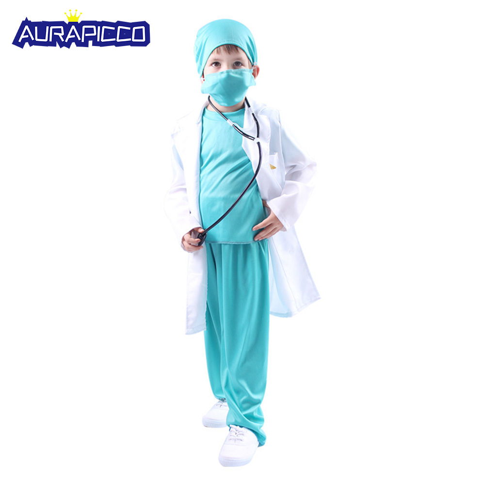 Kids Doctor Costume Boys Professional Uniform Dr Surgeon Clothing Suit Role Play With Doctor Cap Halloween Costume For Kids