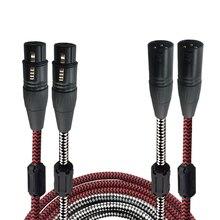 Пара XLR мужчин и женщин Расширение аудио кабель HiFi микшерский пульт Динамик Микрофон XLR 3 Булавки балансный кабель 1 м 2 м 3 м 5 м 8 м