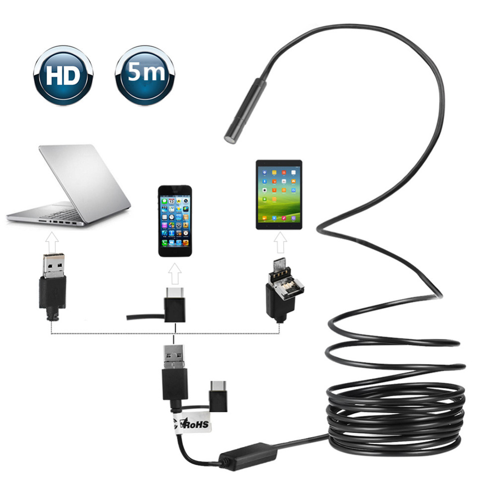 1pc Black 5-Meter USB OTG Endoscope with 2-Megapixel Waterproof Camera for Pipe Car Inspection