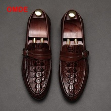 OMDE Newest Leather Casual Shoes Round Toe Men's Slip-on Loafers With Buckles Genuine Leather Crocodile Grain Mens Dress Shoes