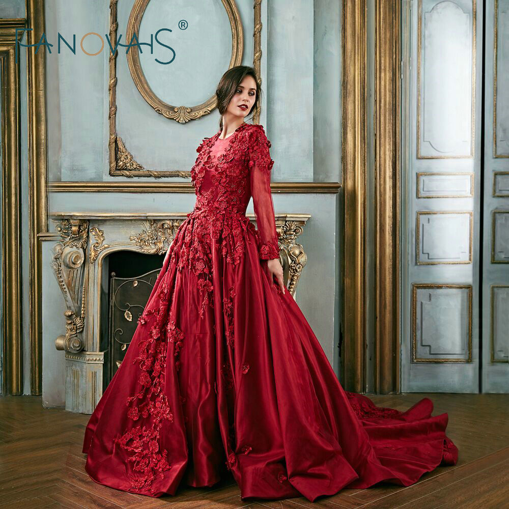 fdf6ceaea3 Vintage Evening Dresses Long Sleeves Burgundy Prom Dresses 2019 Evening  Elegant Long Gown Party Dresses Vestido De Festa Longo