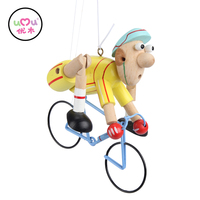 [Umu] Fashionistas Yellow Wooden Toys For Children Bicycle Racers High Quality Wooden Crafts Pendant Educational Toys New