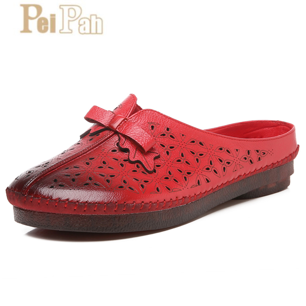 PEIPAH Handmade 2019 Summer New National Style Genuine Leather Ladies Slippers Hollow Breathable Butterfly-knot Womens ShoesPEIPAH Handmade 2019 Summer New National Style Genuine Leather Ladies Slippers Hollow Breathable Butterfly-knot Womens Shoes