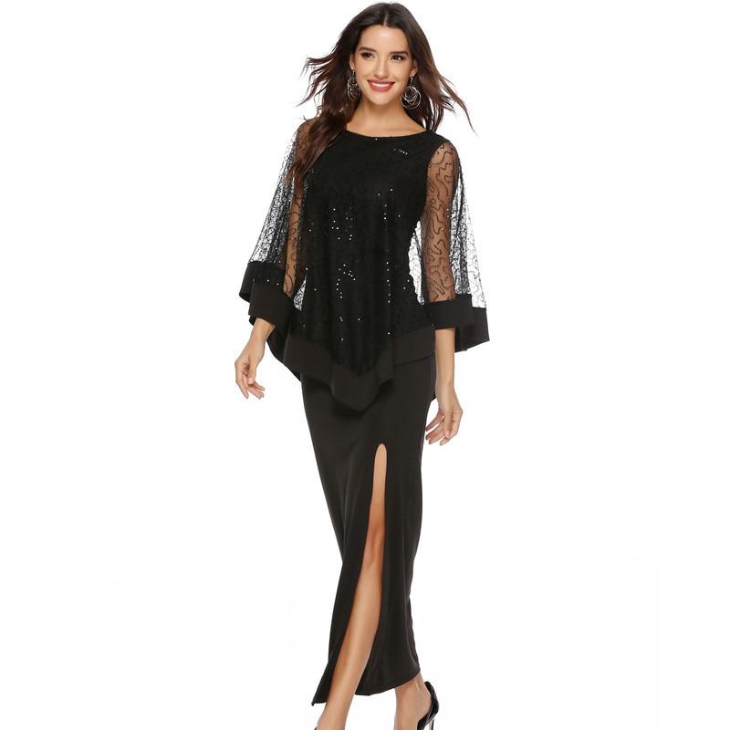 2019 Women's Sequined Mesh Dress O Neck Cloak Sleeves Solid Autumn High Waist  Elegant Dress Slim Long Dress Vestidos