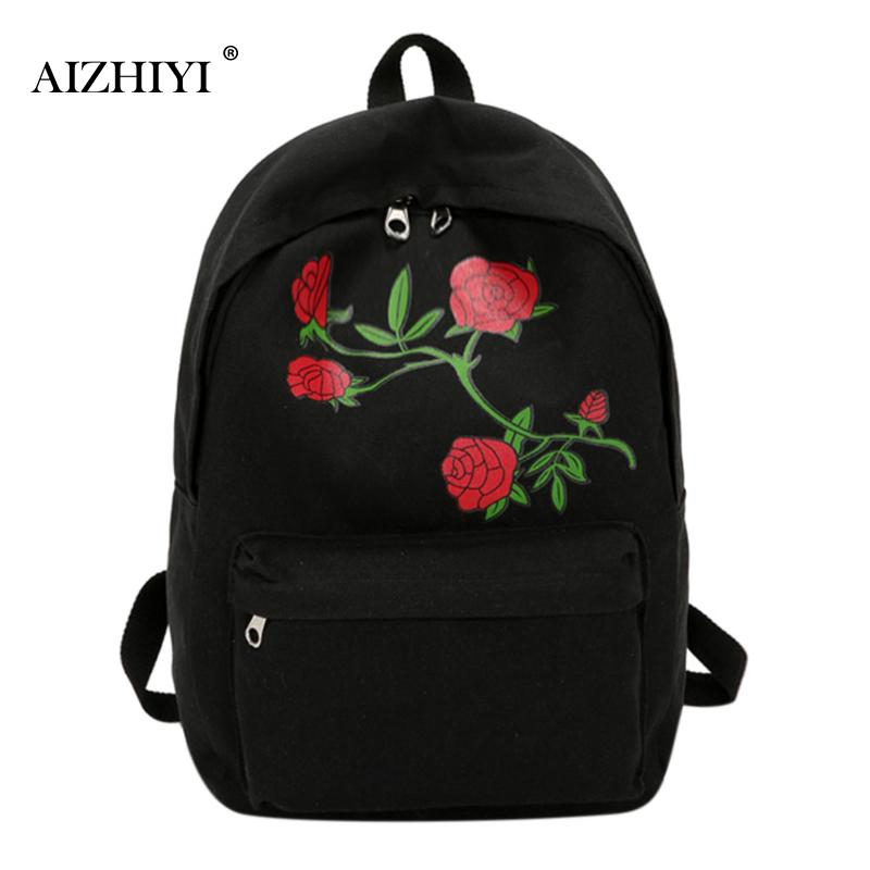 Aizhiyi brand women s backpack floral rose embroidery bag