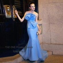 Vestidos De Noche 2017 Blau Organza Lange Formale Abendkleider Schulterfrei Frauen Nixe-abschlussball Handgefertigten Bogen Party Kleid