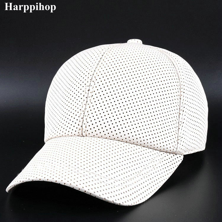 Autumn and winter new men's Leather Baseball Cap Hat pure sheepskin casual leather peaked cap hole drilling ventilation hopebird letter leather brand gorros knitted cap baggy beanie winter female pompon women hat skullies autumn bonnet femme cap