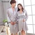 Conjuntos de Amor casais Robe Homens Robes De Seda Sleepwear de manga Comprida Com Decote Em V Roupão De Seda Das Mulheres De Luxo