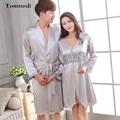 Parejas Robe Sets Amor Hombres Robes ropa de Noche Bata De Seda de manga Larga Con Cuello En V de Las Mujeres de Seda de Lujo