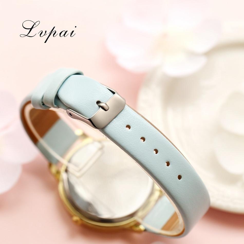 Bracelet Watch Rose Gold Flowers Leather Simple Women Watch 5