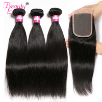 Human Hair Bundles With Closure Brazilian Straight Hair Weave 3 Bundles With Closure 4 Bundle Deals