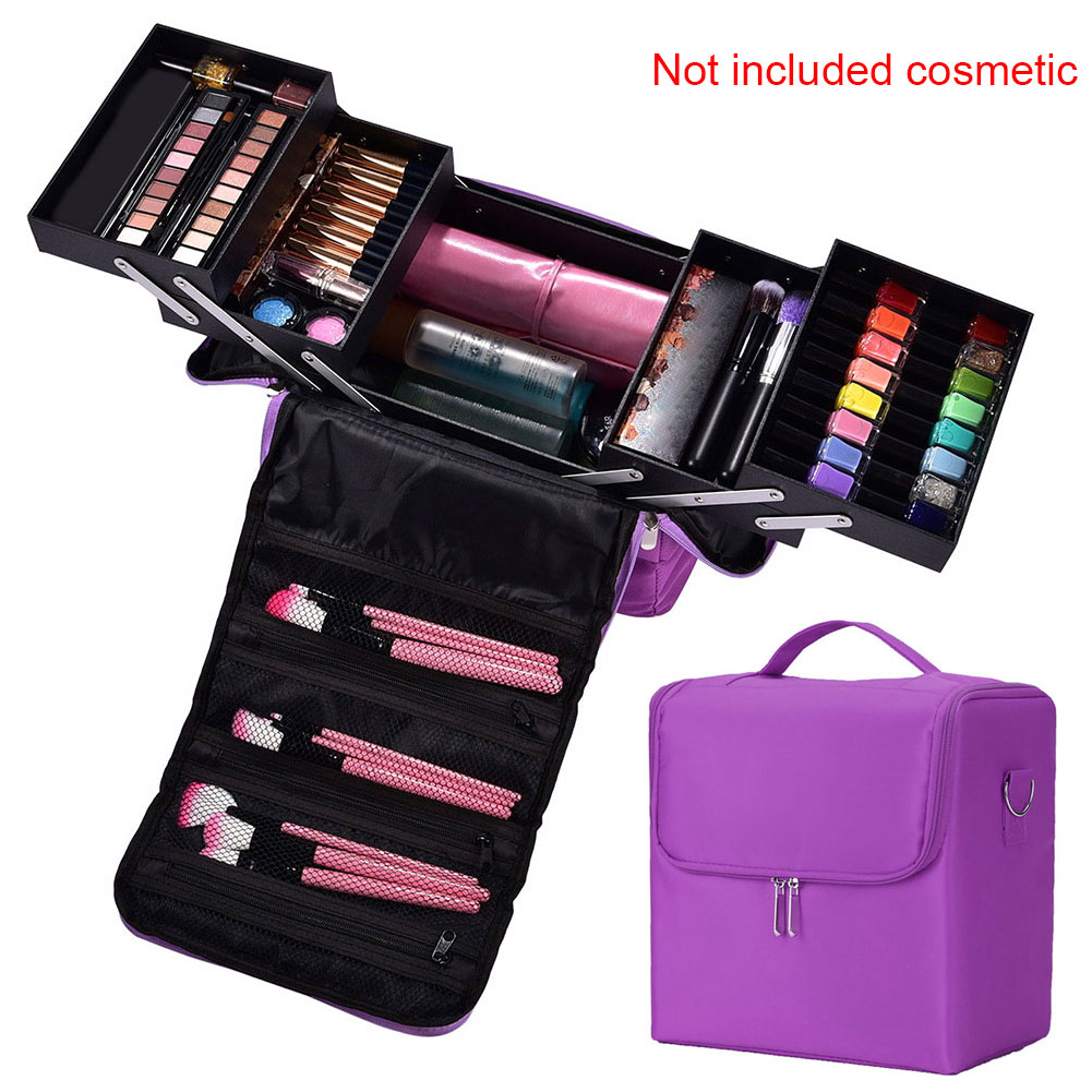 Jewellery Cosmetics Nylon Multilayer Zipper Makeup Bag Vanity Case Storage Nail Art Professional Portable Organizer Box