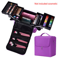 Jewellery Cosmetics Nylon Multilayer Zipper Makeup Bag Vanity Case Storage Nail Art Professional Portable Organizer Box