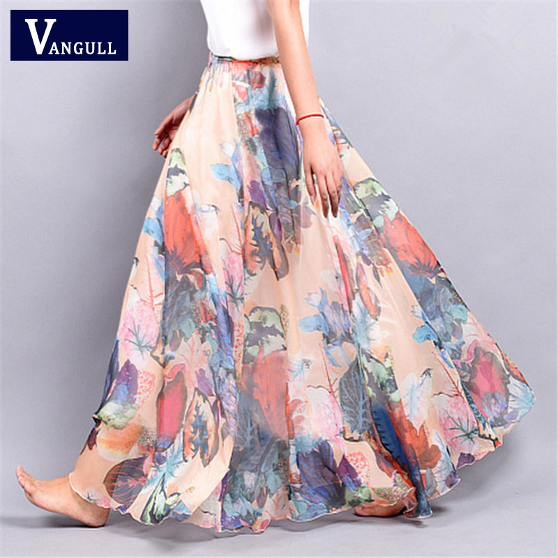 2018 New Summer Bohemia Women's Chiffon Lady's Half Long Big All Match Multi Colored Large Floral Lady Pendulum Short Skirt