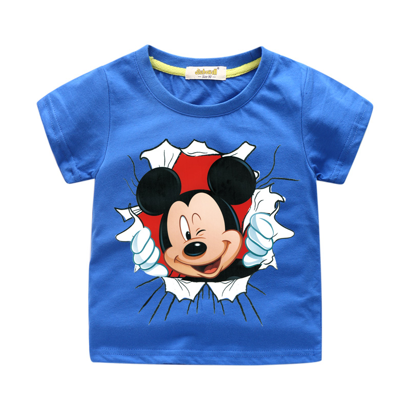New Arrivals Children Cartoon Mickey Print T-shirt Boy Girl 3D Funny Tee Tops Clothes For Kids Summer Short Tshirt Costume WJ064