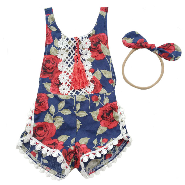 421cb8347 Baby Girl Romper Floral Lace Tassel Toddler Baby Jumpsuit Infant ...