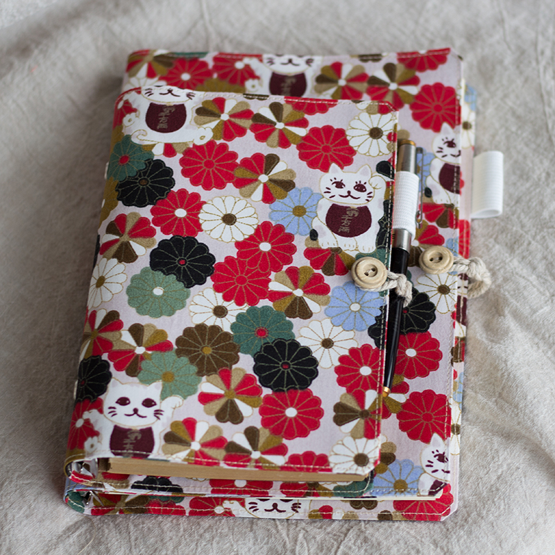Cute Lucky Cat Flower Diary, Spiral Loose Leaf Handmade Cloth Planner Notes, Personal Agenda Notepad Journal Traveler Notebook vintage traveler s notebook cowhide diary handmade journal 100% genuine leather spiral looes leaf diy
