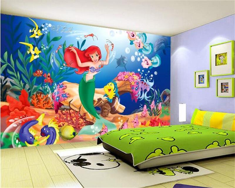 3d Wallpaper Custom Mural Photo Wallpaper Sticker Mermaid Princess Fairy  Tale World Painting Photo 3d Wall Murals Wallpaper