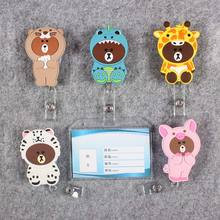Badge Scroll Nurse Reel Transparent PVC Character Scalable Colors Little Double-Fac Bear Girls Exhibition ID Plastic CardHolder