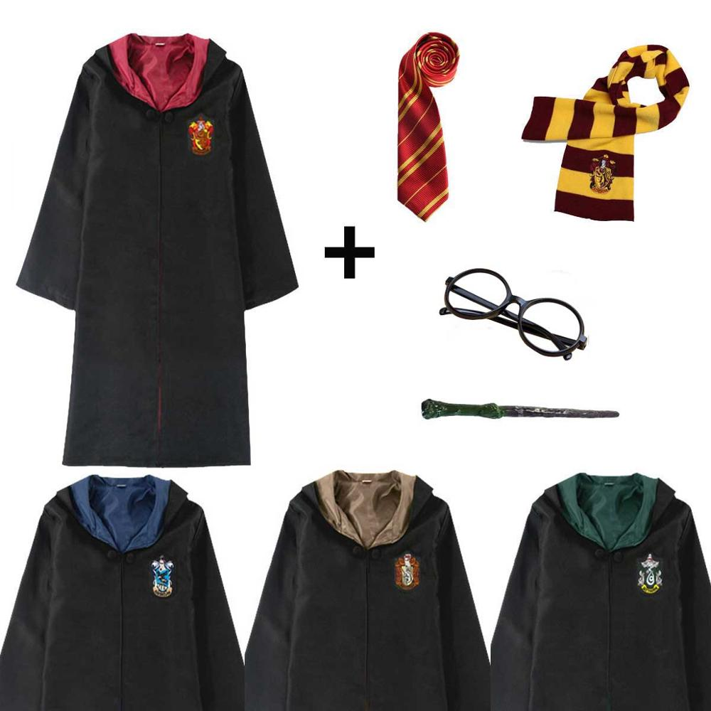 Halloween Robe Costume For Kids Adult Gryffindor Hufflepuff Ravenclaw Slytherin Potter Robe Cloak Tie Scarf Wand Glasses