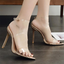 купить Summer Women Sandals Transparent Buckle Strap Thin Heels 12CM High Heels Pumps Lady Sandal woman Shoes дешево