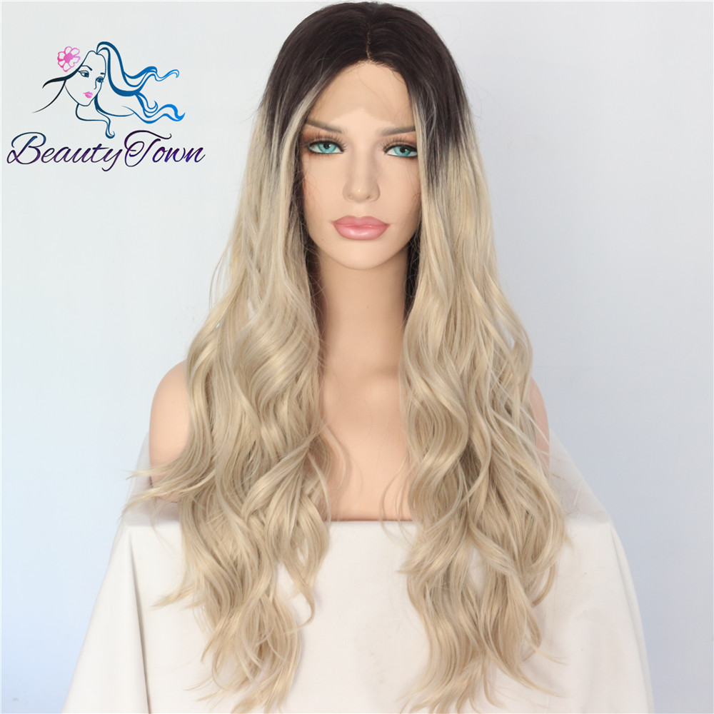 BeautyTown Black Ombre Blonde Heat Resistant Hand Tied Blogger Daily Makeup Cosplay Long Synthetic Lace Front