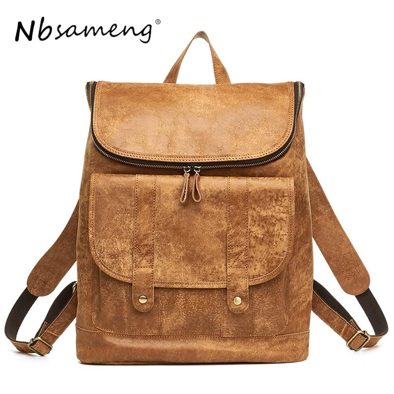 NBSAMENG 2018 Designer Genuine Leather Men Backpack Male Travel Backpack School Bag Men Laptop Backpacks Pocket Casual Masculina стоимость