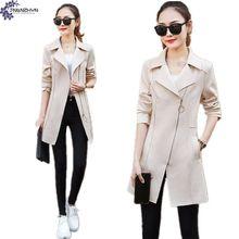 TNLNZHYN Women clothing windbreaker Outerwear 2017 autumn fashion slim Big yards long sleeves casual female Trench coat TT431