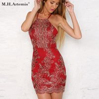 M H Artemis Boho Chic Floral Embroidery Sequin Lace Bodycon Mini Dress Sexy Backless Shiny Halter