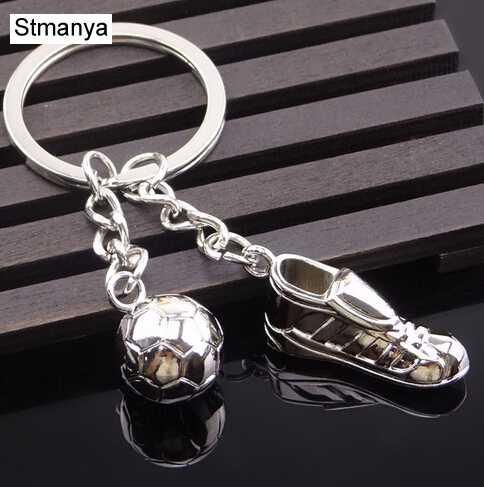 Chaveiro de metal novo chaveiro-moda quente de alta qualidade sapatos de futebol e futebol de metal carro chaveiro chaveiro presente saco