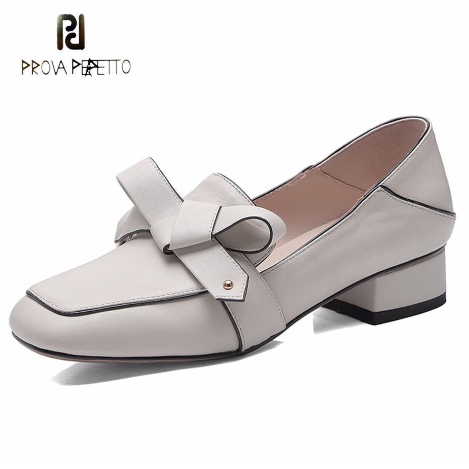 Prova Perfetto soft loafers women shoes black beige genuine leather butterfly knot low heel shoes square toe slip on casual shoe цена