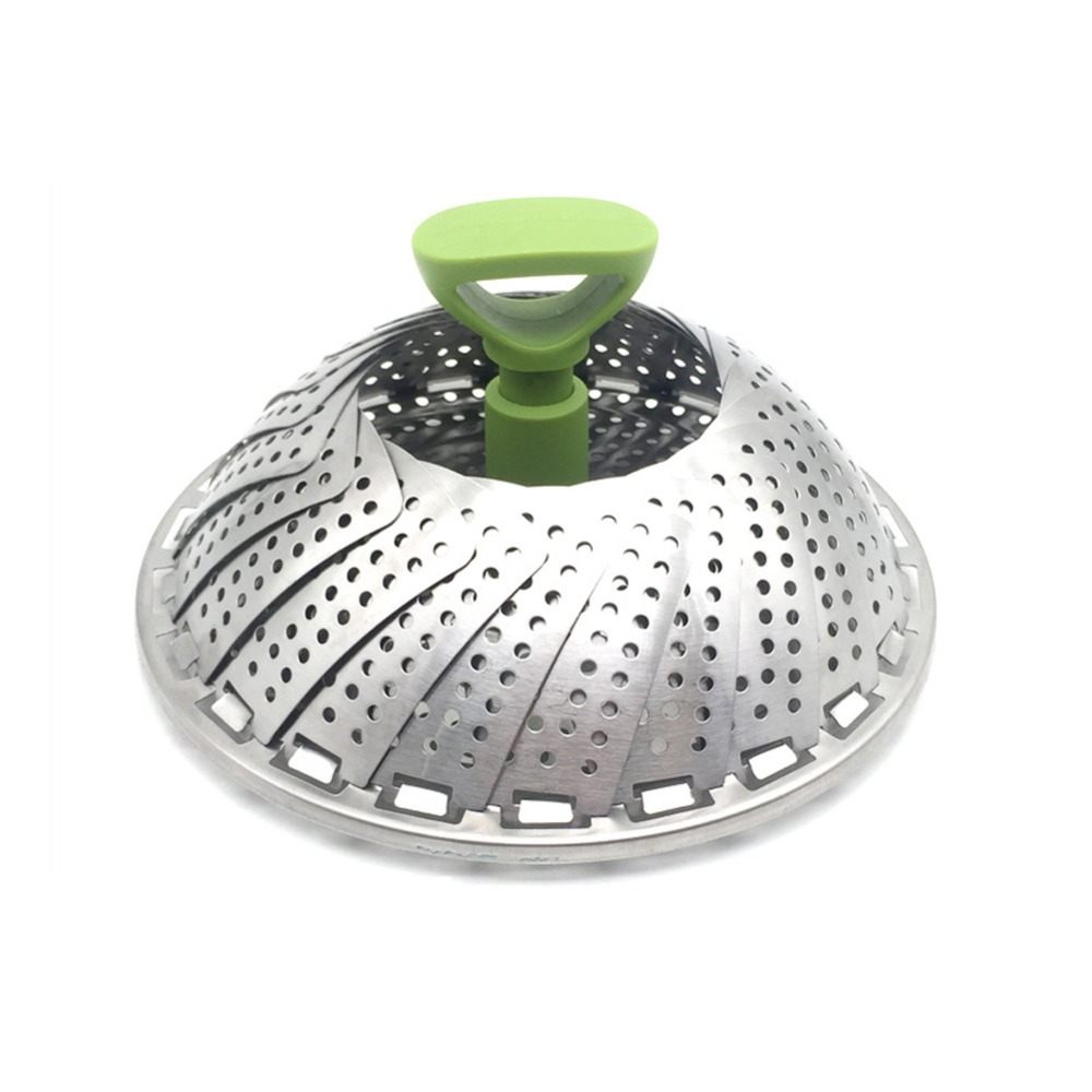 11 Inch Multi-function Household Tool Stainless Steel Steamer Collapsible Steamer Vegetable Fruit Steamer Basket Kitchen Tool