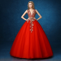 Red Deep V Neck Sexy Golden Embroidery Luxury Medieval Dress Ball Gown Siss Princess Gown Queen