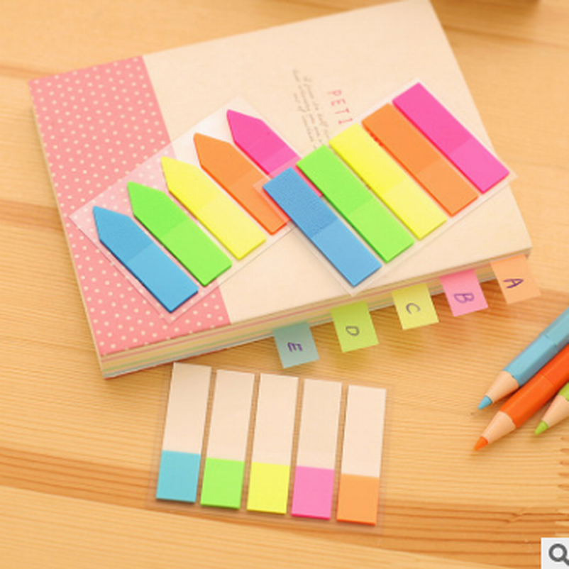 DHL Wholesale 500Set Colorful PET Memo Paper Sticker Kawaii Rainbow Index Post It Sticky Notes Stationery Office School Supplies